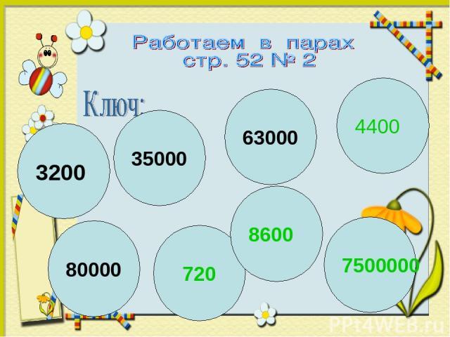63000 80000 7500000 3200 720 35000 8600 4400
