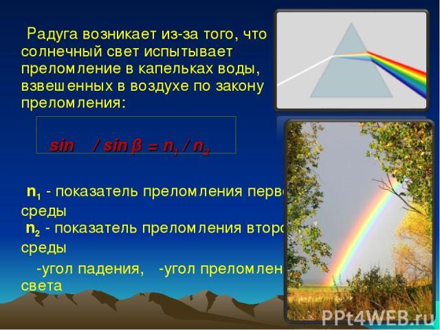 Радуга возникает из-за того, что солнечный свет испытывает преломление в капельках воды, взвешенных в воздухе по закону преломления: sin α / sin β = n1 / n2 n1 - показатель преломления первой среды n2 - показатель преломления второй среды α-угол па…