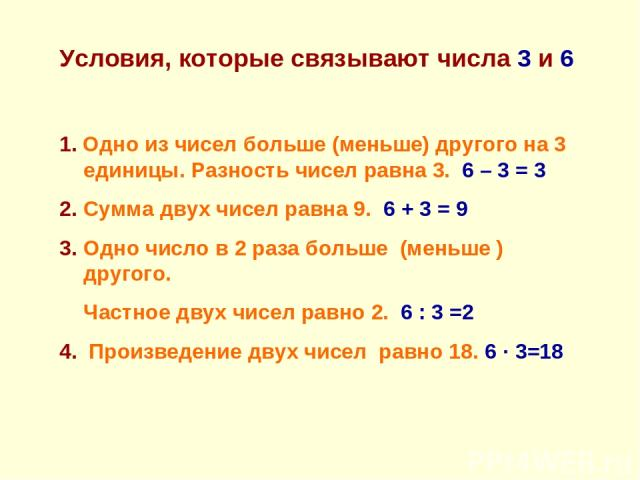 Условия, которые связывают числа 3 и 6 1. Одно из чисел больше (меньше) другого на 3 единицы. Разность чисел равна 3. 6 – 3 = 3 2. Сумма двух чисел равна 9. 6 + 3 = 9 3. Одно число в 2 раза больше (меньше ) другого. Частное двух чисел равно 2. 6 : 3…