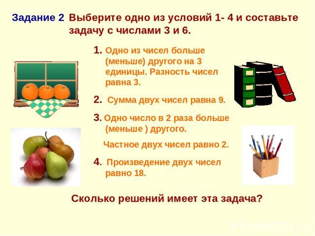 Выберите одно из условий 1- 4 и составьте задачу с числами 3 и 6. Задание 2 Сколько решений имеет эта задача? 1. Одно из чисел больше (меньше) другого на 3 единицы. Разность чисел равна 3. 2. Сумма двух чисел равна 9. 3. Одно число в 2 раза больше (…