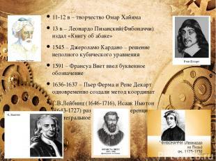 11-12 в – творчество Омар Хайяма 13 в – Леонардо Пизанский(Фибоначчи) издал «Кни