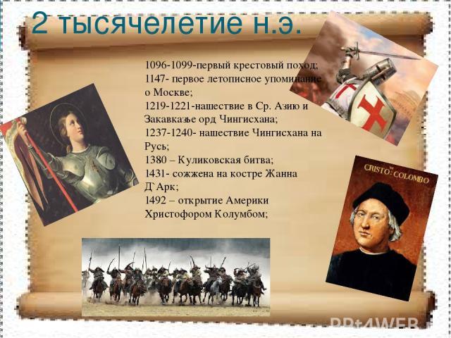 2 тысячелетие н.э. 1096-1099-первый крестовый поход; 1147- первое летописное упоминание о Москве; 1219-1221-нашествие в Ср. Азию и Закавказье орд Чингисхана; 1237-1240- нашествие Чингисхана на Русь; 1380 – Куликовская битва; 1431- сожжена на костре …
