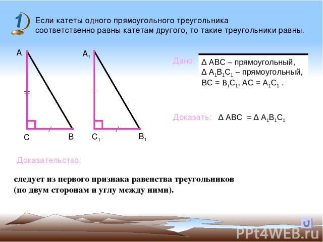 Если катеты одного прямоугольного треугольника соответственно равны катетам другого, то такие треугольники равны. Дано: Доказать: Доказательство: В А А1 С С1 В1 ∆ АВС = ∆ А1В1С1 следует из первого признака равенства треугольников (по двум сторонам и…
