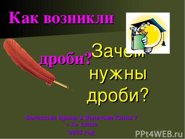 Зачем нужны дроби? Балашова Ирина и Валетова Юлия 7 « А» класс 2015 год Как возникли дроби?