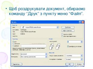 """Щоб роздрукувати документ, обираємо команду """"Друк"""" з пункту меню """"Файл""""."""