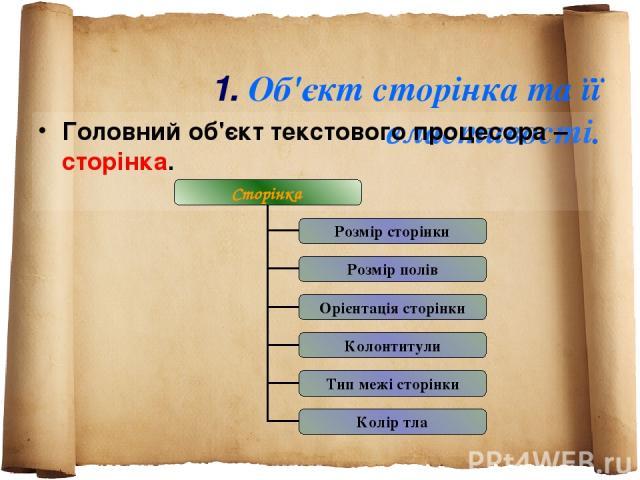 1. Об'єкт сторінка та її властивості. Головний об'єкт текстового процесора – сторінка.