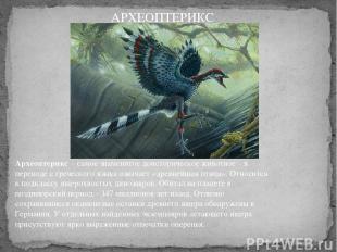 Археоптерикс– самое знаменитое доисторическое животное – в переводе с греческог