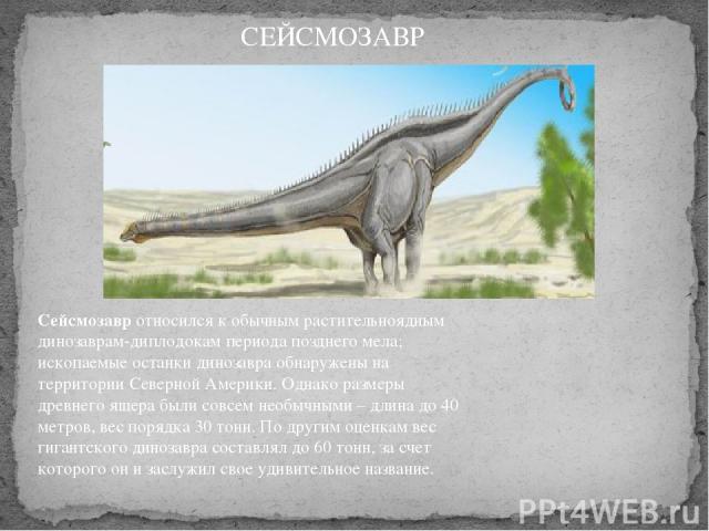 Сейсмозавротносился к обычным растительноядным динозаврам-диплодокам периода позднего мела; ископаемые останки динозавра обнаружены на территории Северной Америки. Однако размеры древнего ящера были совсем необычными – длина до 40 метров, вес поряд…