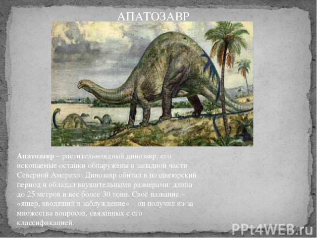 Апатозавр– растительноядный динозавр; его ископаемые останки обнаружены в западной части Северной Америки. Динозавр обитал в позднеюрский период и обладал внушительными размерами: длина до 25 метров и вес более 30 тонн. Своё название – «ящер, вводя…