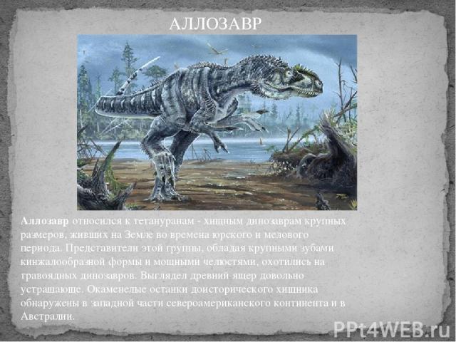 Аллозавротносился к тетануранам - хищным динозаврам крупных размеров, живших на Земле во времена юрского и мелового периода. Представители этой группы, обладая крупными зубами кинжалообразной формы и мощными челюстями, охотились на травоядных диноз…