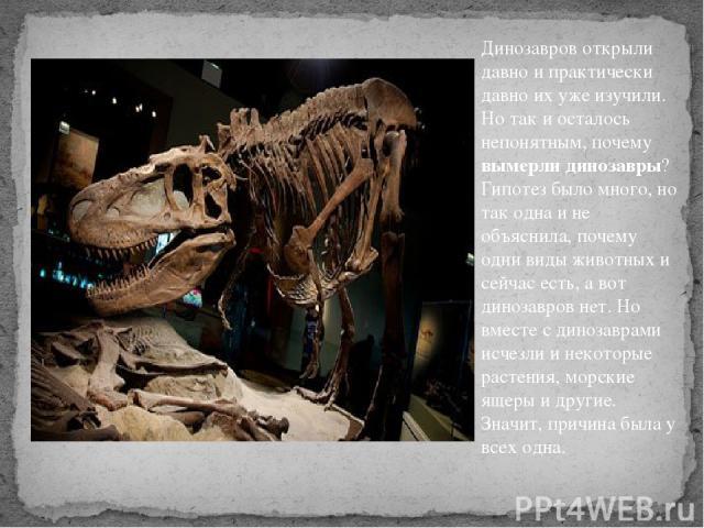 Динозавров открыли давно и практически давно их уже изучили. Но так и осталось непонятным, почему вымерли динозавры? Гипотез было много, но так одна и не объяснила, почему одни виды животных и сейчас есть, а вот динозавров нет. Но вместе с динозавра…