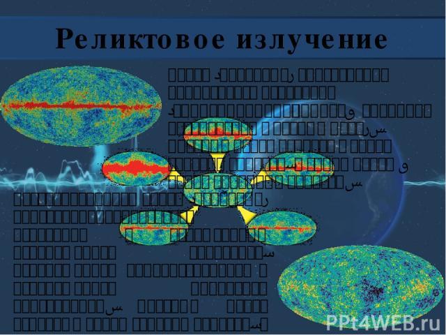 Реликтовое излучение Восстановленная карта (панорама) анизотропииреликтового излучения с исключённым изображением Галактики, изображением радиоисточников и изображением дипольной анизотропии. Красные цвета означают более горячие области, а синие цве…