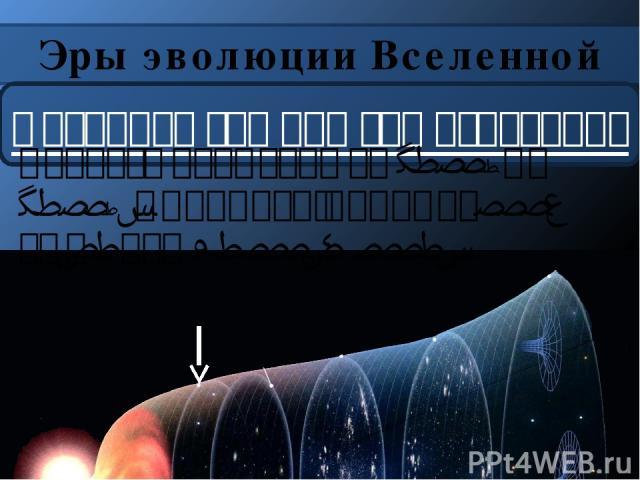 Эры эволюции Вселенной Фотонная эра или эра излучения Длилась примерно от t=10-6 до t=10-4. Плотность порядка 1017 кг/м3 при T=1012…1013.