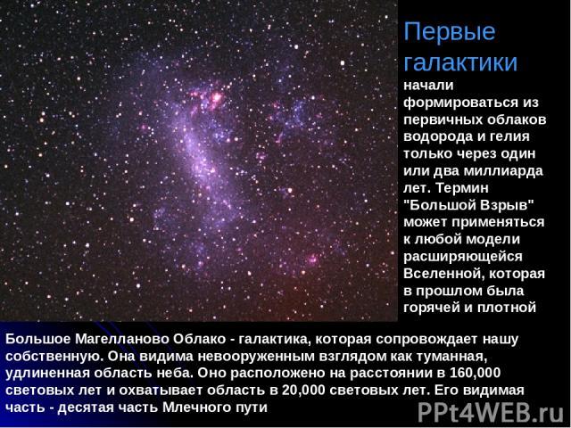 Первые галактики начали формироваться из первичных облаков водорода и гелия только через один или два миллиарда лет. Термин