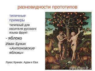разновидности прототипов типичные примеры типичный для носителя русского языка ф