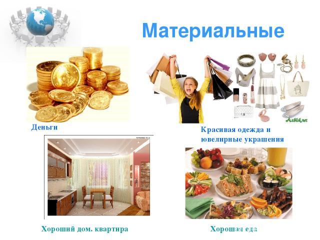 Материальные Деньги Красивая одежда и ювелирные украшения Хороший дом. квартира Хорошая еда
