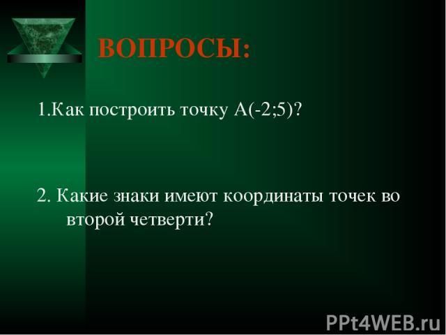 ВОПРОСЫ: 1.Как построить точку А(-2;5)? 2. Какие знаки имеют координаты точек во второй четверти?