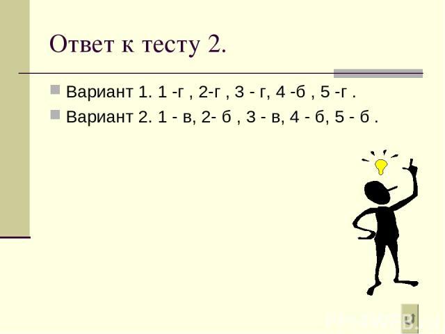 Ответ к тесту 2. Вариант 1. 1 -г , 2-г , 3 - г, 4 -б , 5 -г . Вариант 2. 1 - в, 2- б , 3 - в, 4 - б, 5 - б .
