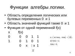 * Функции алгебры логики. Область определения логических или булевых переменных