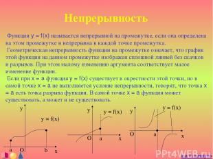 Непрерывность Функция y = f(x) называется непрерывной на промежутке, если она оп