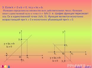3. Если k ¹ 0 и b ¹ 0, то y = kx + b. Функция определена на множестве всех дейст