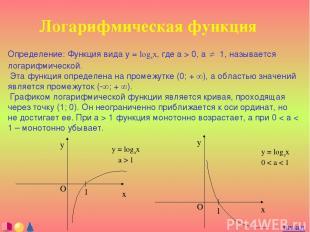 Логарифмическая функция Определение: Функция вида y = logax, где a > 0, a ¹ 1, н