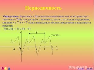 Периодичность Определение: Функция y = f(x) называется периодической, если сущес