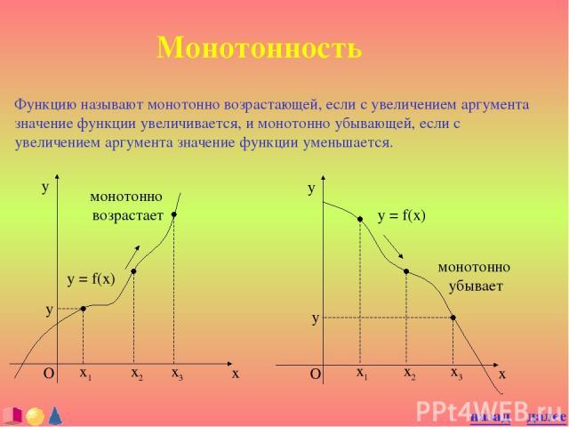 Монотонность Функцию называют монотонно возрастающей, если с увеличением аргумента значение функции увеличивается, и монотонно убывающей, если с увеличением аргумента значение функции уменьшается. y = f(x) далее назад