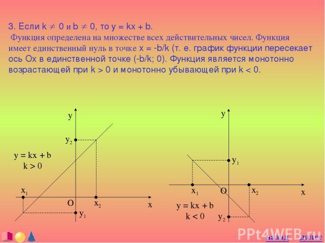 3. Если k ¹ 0 и b ¹ 0, то y = kx + b. Функция определена на множестве всех действительных чисел. Функция имеет единственный нуль в точке x = -b/k (т. е. график функции пересекает ось Ох в единственной точке (-b/k; 0). Функция является монотонно возр…