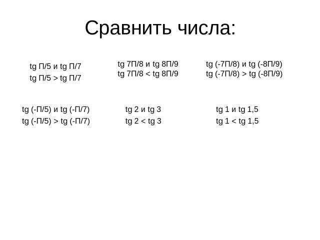 Сравнить числа: tg П/5 и tg П/7 tg П/5 > tg П/7 tg 7П/8 и tg 8П/9 tg 7П/8 < tg 8П/9 tg (-7П/8) и tg (-8П/9) tg (-7П/8) > tg (-8П/9) tg (-П/5) и tg (-П/7) tg (-П/5) > tg (-П/7) tg 2 и tg 3 tg 2 < tg 3 tg 1 и tg 1,5 tg 1 < tg 1,5