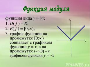 функция вида y = |x|; 1. D( f ) = R; 2. E( f ) = [0;∞); 3. график функции на про