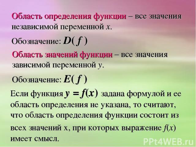 Область определения функции – все значения независимой переменной х. Обозначение: D( f ) Область значений функции – все значения зависимой переменной у. Обозначение: Е( f ) Если функция у = f(х) задана формулой и ее область определения не указана, т…