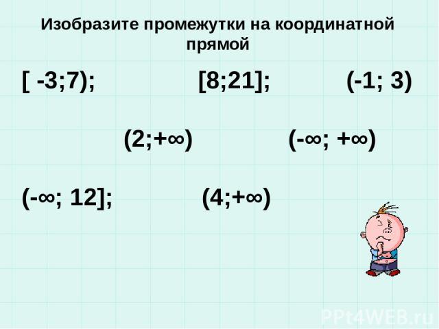 Изобразите промежутки на координатной прямой [ -3;7); [8;21]; (-1; 3) (2;+∞) (-∞; +∞) (-∞; 12]; (4;+∞)