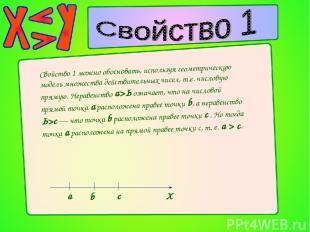 Свойство 1 можно обосновать, используя геометрическую модель множества действите
