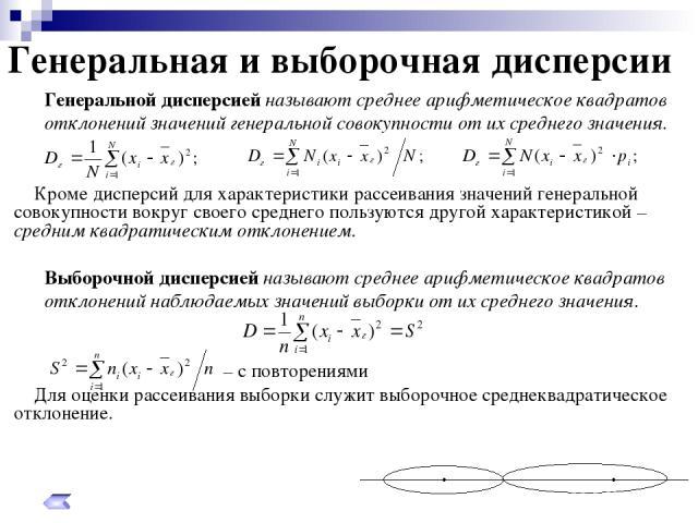 Генеральная и выборочная дисперсии Генеральной дисперсией называют среднее арифметическое квадратов отклонений значений генеральной совокупности от их среднего значения. Кроме дисперсий для характеристики рассеивания значений генеральной совокупност…
