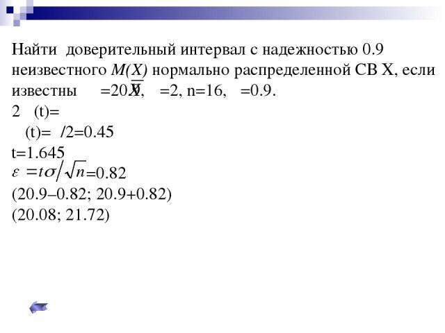 Найти доверительный интервал с надежностью 0.9 неизвестного M(X) нормально распределенной СВ Х, если известны =20.9, σ=2, n=16, β=0.9. 2Φ(t)=σ Φ(t)=β/2=0.45 t=1.645 =0.82 (20.9–0.82; 20.9+0.82) (20.08; 21.72)