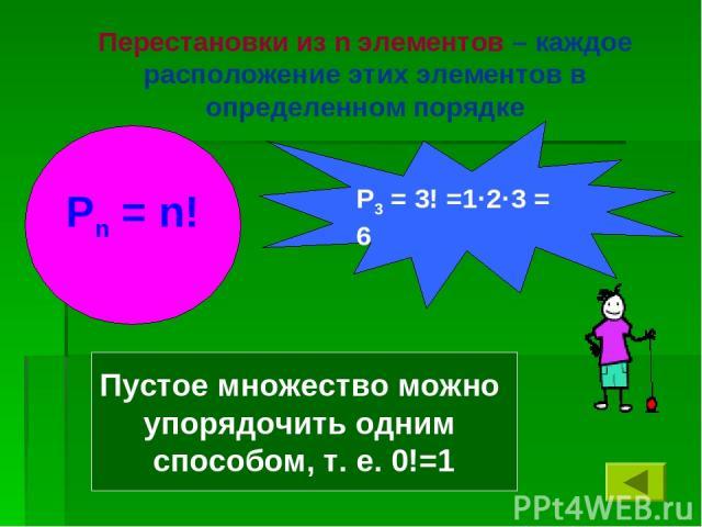 Перестановки из n элементов – каждое расположение этих элементов в определенном порядке Пустое множество можно упорядочить одним способом, т. е. 0!=1 Рn = n! Р3 = 3! =1·2·3 = 6
