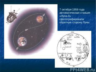 7 октября 1959 года автоматическая станция «Луна-3» сфотографировала обратную ст