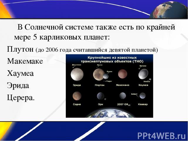 В Солнечной системе также есть по крайней мере 5 карликовых планет: Плутон (до 2006 года считавшийся девятой планетой) Макемаке Хаумеа Эрида Церера.