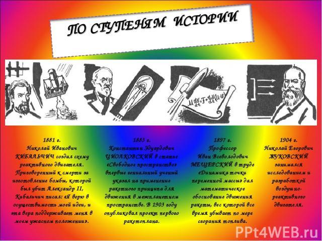 1881 г. Николай Иванович КИБАЛЬЧИЧ создал схему реактивного двигателя. Приговоренный к смерти за изготовление бомбы, которой был убит Александр II, Кибальчич писал: «Я верю в осуществимость моей идеи, и эта вера поддерживает меня в моем ужасном поло…