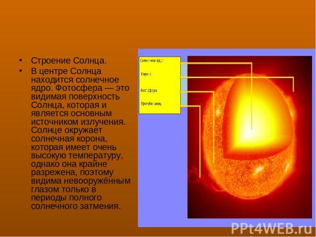 Строение Солнца. В центре Солнца находится солнечное ядро. Фотосфера— это видимая поверхность Солнца, которая и является основным источником излучения. Солнце окружает солнечная корона, которая имеет очень высокую температуру, однако она крайне раз…