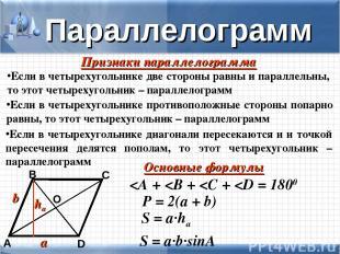 D А В С Параллелограмм О