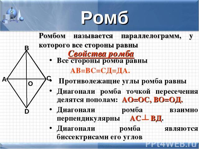 Все стороны ромба равны АВ=ВС=СД=ДА. Противолежащие углы ромба равны Диагонали ромба точкой пересечения делятся пополам: АО=ОС, ВО=ОД. Диагонали ромба взаимно перпендикулярны АС ВД. Диагонали ромба являются биссектрисами его углов А В С D О Ромб Ром…