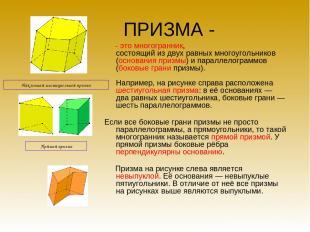 ПРИЗМА - - это многогранник, состоящий из двух равных многоугольников (основания