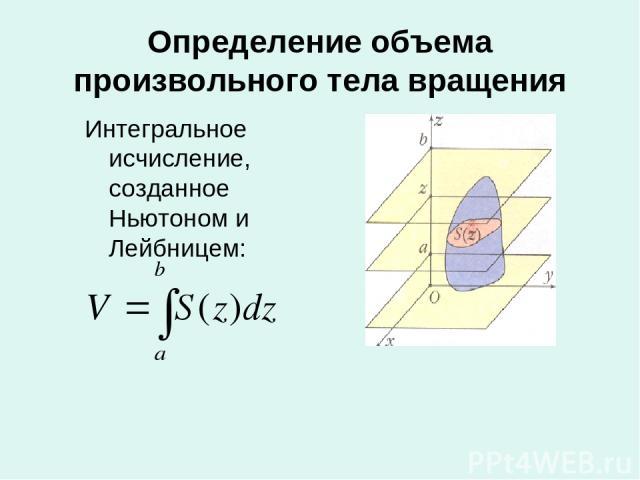Определение объема произвольного тела вращения Интегральное исчисление, созданное Ньютоном и Лейбницем: