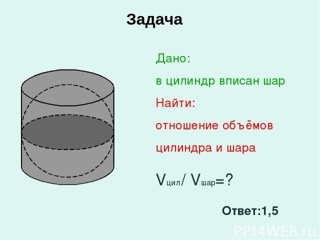 Задача Дано: в цилиндр вписан шар Найти: отношение объёмов цилиндра и шара Vцил / Vшар=? Ответ:1,5