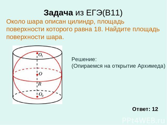 Задача из ЕГЭ(В11) Около шара описан цилиндр, площадь поверхности которого равна 18. Найдите площадь поверхности шара. Ответ: 12 Решение: (Опираемся на открытие Архимеда)