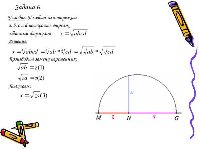 Задача 6. Условие: По заданным отрезкам a, b, с и d построить отрезок, заданный формулой Решение: Производим замену переменных: Получаем: