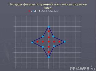 * В + Г/2 − 1 =9+8/2-1=9+4-1=12 Площадь фигуры полученная при помощи формулы Пик