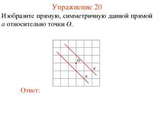 Упражнение 20 Изобразите прямую, симметричную данной прямой a относительно точки